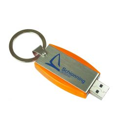 silver metal and orange plastic USB with blue print and split ring attached