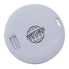 grey coloured round USB card with black printed custom logo