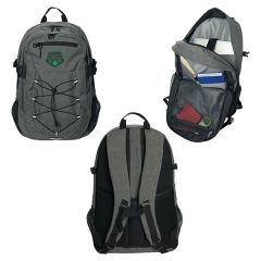 Three different angled images of grey and laptop backpack with black accents