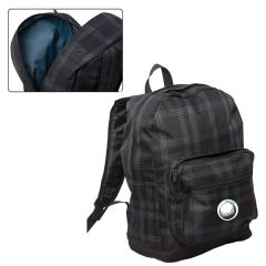 black with plaid laptop knapsack with green and white logo
