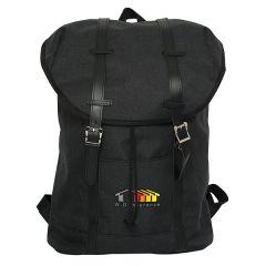 A black laptop knapsack with full colour logo