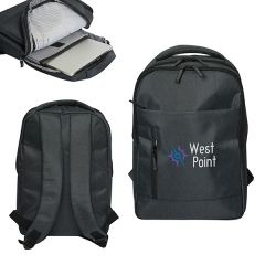 Three images of black laptop backpack with full colour logo