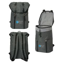 Three images of grey laptop backpack showing different angles with full colour logo