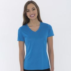 A blue wake heather coloured V-neck ladies tee being worn by a woman with long brown hair and her arms are at her sides