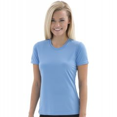 A carolina blue polyester round neck short sleeve ladies tee being worn by a woman with shoulder length blonde hair and her arms at her sides