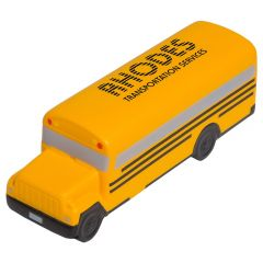 A yellow coloured school bus shaped stress reliever with a black logo on the top of the roof