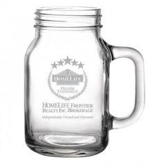 16oz glass mason jar style mug with grey logo