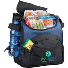 royal blue and black sport cooler with full colour logo unzipped with food inside and drink on the side