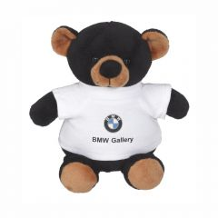 """The front view of a 6"""" plush bear wearing a white T-shirt with a full colour logo on it"""