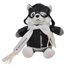 """The front view of a 6"""" husky plush in a pilots outfit with a custom branded logo on their scarf"""