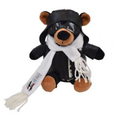 """The front view of a 6"""" plush bear in a pilots outfit with a full colour logo on their scarf"""