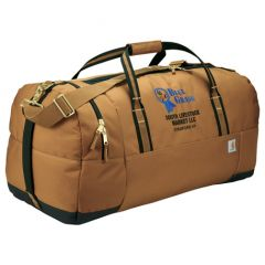 brown 30 inch work duffle bag with blue and black logo angled view
