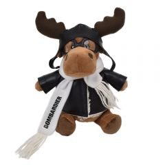 """The front view of a 6"""" plush moose in a pilots outfit with a black logo on their scarf"""