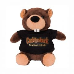 """The front view of a 6"""" plush beaver wearing a black T-shirt with a full colour logo on it"""