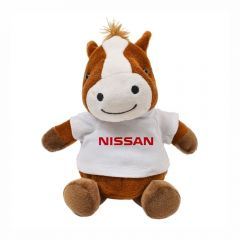 """The front view of a 6"""" plush horse wearing a white T-shirt with a red logo on it"""