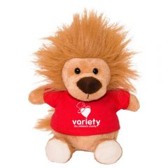 """The front view of a 6"""" plush lion wearing a red T-shirt with a white logo on it"""