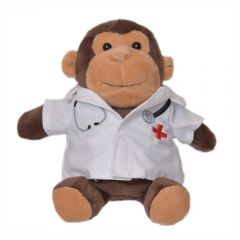 """The front view of a 6"""" monkey plush wearing a doctors coat"""