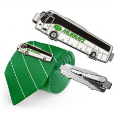 three images of full colour bus shaped tie clips one reversed one facing forward and one attached to a green and white striped tie