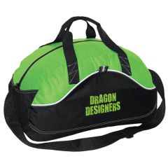 lime green and black 18 inch sports bag with green logo