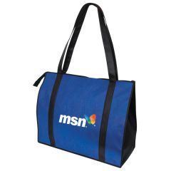 royal blue and black oversize convention tote with full colour logo