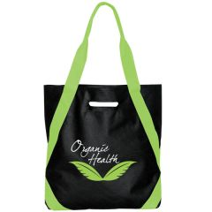 black non woven tote with lime green accents and green and white logo