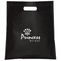 black non woven cut handle tote with white logo