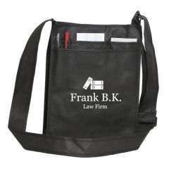 royal blue non woven messenger bag with white logo and showing handle up and handle down imagery