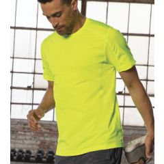 A pace yellow coloured polyester T-shirt being worn by a man stretching his leg behind him
