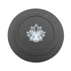 black circle shaped wireless charger with light up logo in the centre