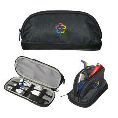 black tech organizer images with one zipped showing full colour logo one open to show contents and grey interior and one half unzipped