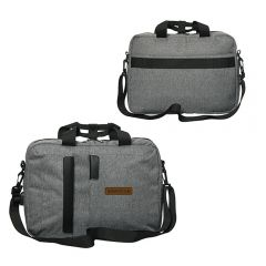 Two images of grey laptop brief with brown logo on front