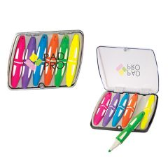 two images of highlighter sets one open one closed each with six different coloured highlighters inside
