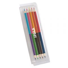 A clear box with a white logo containing 5 double ended, two colour pencils