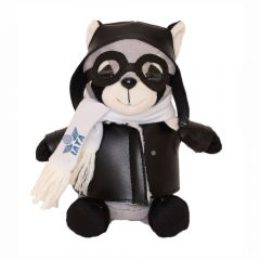 """The front view of a 6"""" raccoon plush in a pilots outfit with a blue logo on their scarf"""