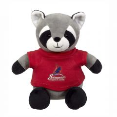 """The front view of a 6"""" raccoon plush wearing a red T-shirt with a full colour logo on it"""