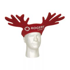 An angled view of a dark red foam reindeer antlers pullover hat with a white logo on the front. The hat is being worn by a mannequin head