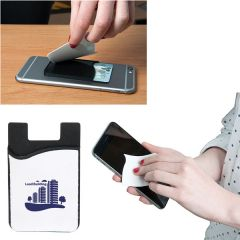 a white and black smartphone wallet with a blue logo with two examples of how to use the screen cleaning part beside it