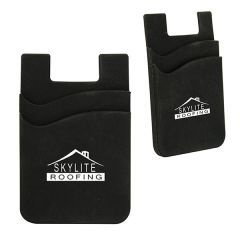 black silicone double phone wallet with a white logo