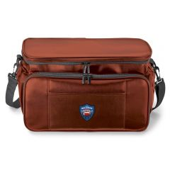 A brown cooler / bbq set with a colour logo on the front
