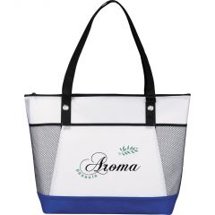 A white tote with blue accents and a black handle and two mesh pockets and a black and green logo