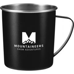 A black 16oz metal camping mug with a stainless steel interior and a white logo on the front