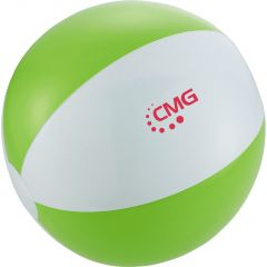 lime green and white beach ball with red screen printed logo