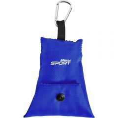 A royal blue cooling towel pouch with a white logo and a carabiner clip