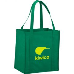 green small grocery tote with yellow logo