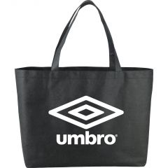 black tote with red logo