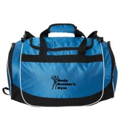 A royal blue and black 20 inch duffle / sports bag with a black logo