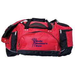 red and black with grey piping 23 inch sports duffel bag with dark blue logo