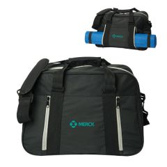 black yoga bag with green logo and an image of the same bag behind it with a yoga mat inside