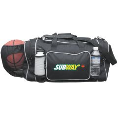 black with grey piping 23 inch jumbo sports duffel with full colour logo