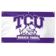 large purple and white vinyl banner